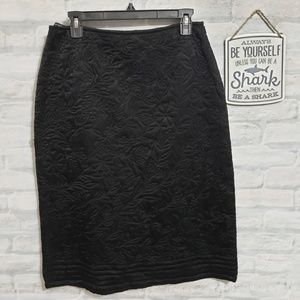 French Connection black quilted midi skirt
